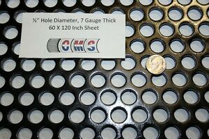 Perforated Mild Steel Sheet 1 2 Inch Hole 7 Gauge 60 X 120 Inch 48 Open Area