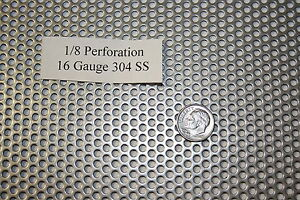 Perforated 304 Stainless Steel Sheet 1 8inch Hole 16 Gauge 36x120 Screen Sieve