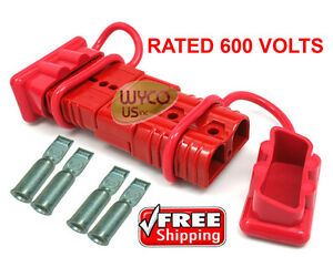 600 Volt Winch Quick Connector Plugs disconnect Plugs For 1awg Wire Dust Covers