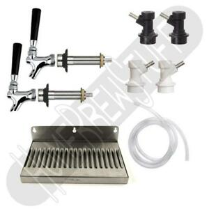Kegerator Conversion Kit 2 Taps 4 5 Shank Faucet Draft Beer Drip Tray Ball Lock