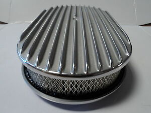 15 Oval Finned Polished Aluminum Classic Nostalgia Air Cleaner Fits Chevy Ford