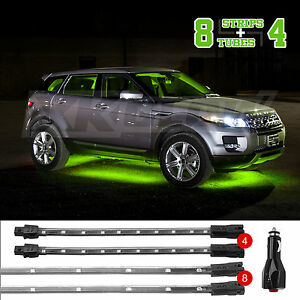 New 12pc Led Low Profile Undercar Interior Truck Bed Accent Light Kit Green