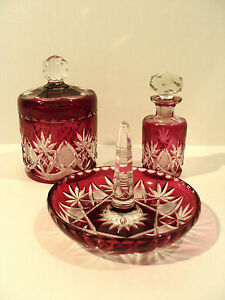 Gorgeous Abp 3 Pc Set Cranberry Cased Cut To Clear Dresser Set C 1900