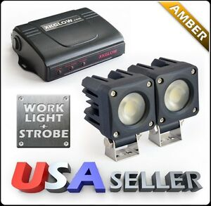 Amber 2x750lm Led Work Light Kit 4 Mode Control Box Solid On Strobe 2 Zone