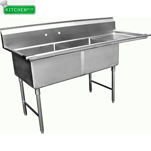2 Compartment Sink With Right Drain Board 18 x18