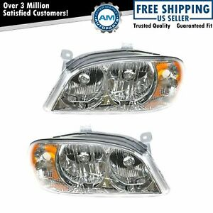 Headlights Headlamps Pair Set For 02 04 Kia Spectra Sedan