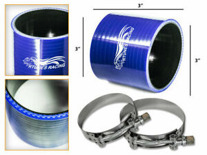 Blue Silicone Coupler Hose 3 0 76 Mm T bolt Clamps Air Intake Intercooler Vw