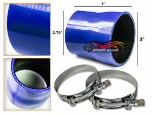Blue Silicone Reducer Coupler Hose 3 2 75 76 Mm 70 Mm T bolt Clamps Vw