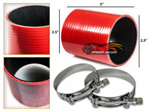 Red Silicone Coupler Hose 2 5 63 Mm T bolt Clamps Air Intake Intercooler Jp
