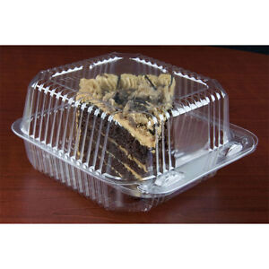 6 X 6 X 3 Clear Hinged Lid Plastic Container 500 cs Fast Shipping