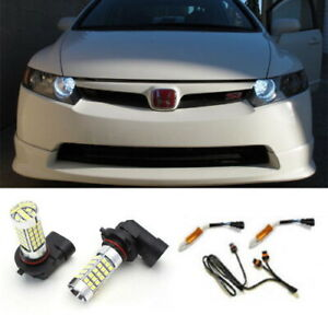6000k White 9005 Led Daytime Running Light Kit For Acura Tsx Tl Honda Civic Etc