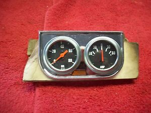 Vintage 1950 s 60 s Nos Gauge Pod Oil Pressure Amperage Hot Rod Rat Rod Gasser