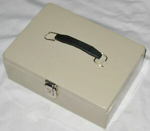 Tan 11 Metal Money Cash Money Box With Lid