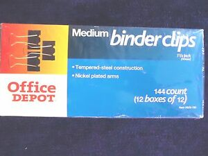 Office Depot Medium Binder Clips 144 Count 12 Boxes