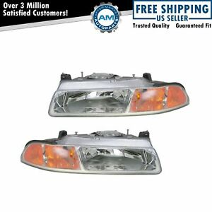 Headlights Headlamps Left Right Pair Set New For 95 00 Stratus Breeze Cirrus