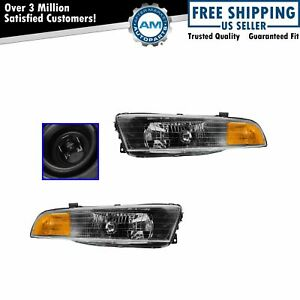 Headlights Headlamps Left Right Pair Set New For 02 03 Mitsubishi Galant
