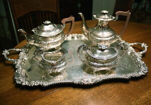 Barker Ellis Floral Repousse Silver Plate Tea Coffee Service Tray Elegant