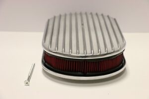 15 Oval Finned Polished Aluminum Red Washable Classic Air Cleaner Chevy Sbc Bbc