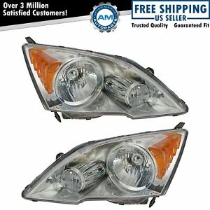 Headlights Headlamps Left Right Pair Set Of 2 For 07 11 Honda Cr v Crv