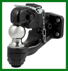 Combination Ball Pintle Trailer Hitch Towing Hook 2 Ball 16 000 Lbs