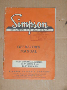 Simpson Electric Co Volt ohm milliammeter 260 Series 5 5m Operator s Manual