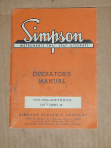 Simpson Electric Co Volt ohm milliammeter 260 Series 5p Operator s Manual