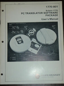 Allen bradley 1770 801 Bulletin 1770 Pc Translator Software Package Users Manual
