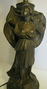Art Nouveau Beautiful Maiden The Sea Tone Figural Lamp Toc Tonks Bros Newark Nj