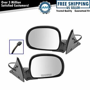 Black Power Side View Mirrors Left Right Pair Set For Chevy S10 Gmc Jimmy