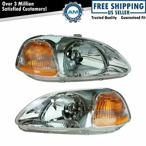 Headlights Headlamps Left Right Pair Set For 96 98 Honda Civic