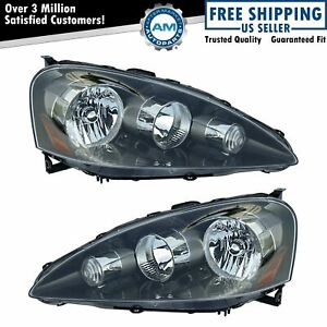 Headlights Headlamps Left Right Pair Set New For 05 06 Acura Rsx