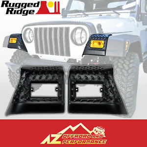 Rugged Ridge Front Fender Guard Body Armor 97 06 Jeep Wrangler 11650 20 Black