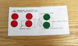 1957 Chevy Dash Oil Gen Turn Signal Red Green Indicator Recoloring Discs
