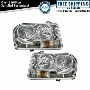 Headlights Headlamps Left Right Pair Set New For 05 10 Chrysler 300