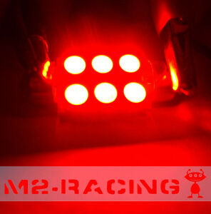 2x Ultra Red 36mm Led 6411 6418 6 Smd Dome Map Festoon Interior Light Bulb