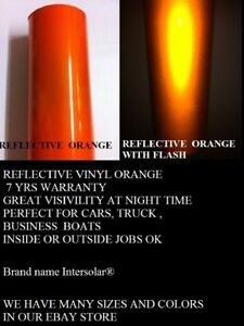 24 X 50 Ft Orange Reflective Vinyl Adhesive Cutter Sign Hight Reflectivity