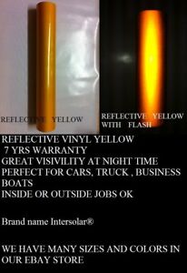 24 X 25 Ft Yellow Reflective Vinyl Adhesive Cutter Sign Hight Reflectivity