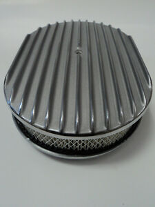 12 Oval Finned Polished Aluminum Classic Nostalgia Air Cleaner Chevy Ford Mopar