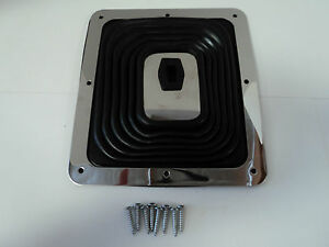 Large Rubber Shifter Boot W Chrome Plate 7 3 4 X 8 3 4 Universal Hurst B