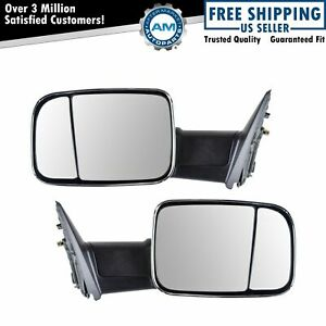 Side View Mirror Manual Towing Flip Up Chrome Pair Set For 09 12 Ram Pickup New