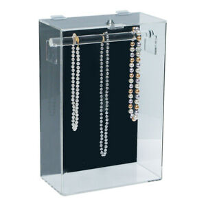 Acrylic Necklace Countertop Display Case Tower Locking Necklace Stand Case 15 H