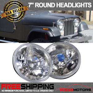 Fit Hummer 7 Inch Round Projector Headlights With Bulbs H6024 Pair