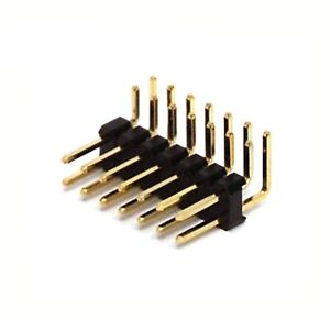 500pc Male Pin Header Right Angle 90 Dual Row 2x7p 2x7 Pitch 2 54mm Rohs H 6mm