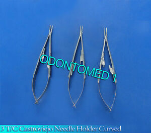 3 T c Castroviejo Needle Holder 9 Curved Surgical Dental Instruments