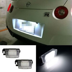 Direct Fit White Led License Plate Light Lamps For Nissan 370z Gtr Infiniti G37