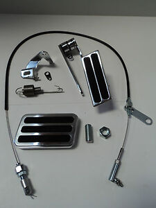 Billet Aluminum Gas Pedal Brake Pad Black Throttle Cable Bracket Spring Kit