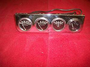 Vintage 1950 s 60 s Gauge Quartet Temp Oil Pressure Amperes Fuel Hot Rod Rat Rod