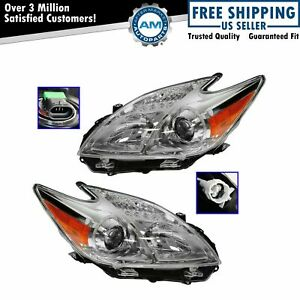 Headlight Headlamp Halogen Lh Rh Pair Driver Passenger Set For Toyota Prius