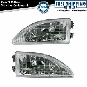 Headlights Headlamps Left Right Pair Set Kit For 94 98 Ford Mustang Cobra
