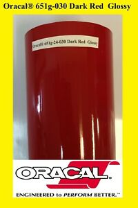 12 X 10 Ft Roll Dark Red Glossy Oracal 651 Vinyl Adhesive Plotter Sign 030